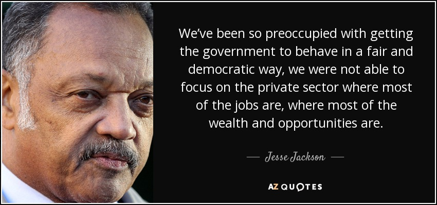 We've been so preoccupied with getting the government to behave in a fair and democratic way, we were not able to focus on the private sector where most of the jobs are, where most of the wealth and opportunities are. - Jesse Jackson