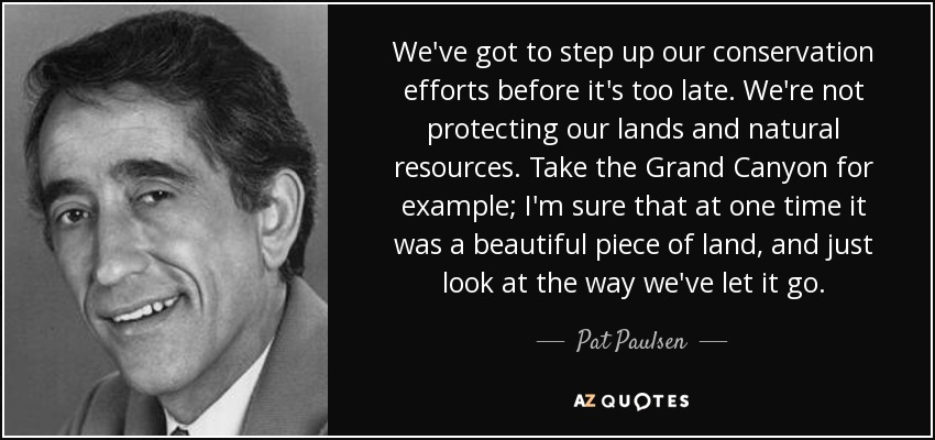 We've got to step up our conservation efforts before it's too late. We're not protecting our lands and natural resources. Take the Grand Canyon for example; I'm sure that at one time it was a beautiful piece of land, and just look at the way we've let it go. - Pat Paulsen
