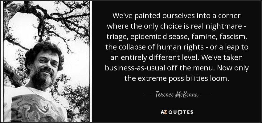 We've painted ourselves into a corner where the only choice is real nightmare - triage, epidemic disease, famine, fascism, the collapse of human rights - or a leap to an entirely different level. We've taken business-as-usual off the menu. Now only the extreme possibilities loom. - Terence McKenna