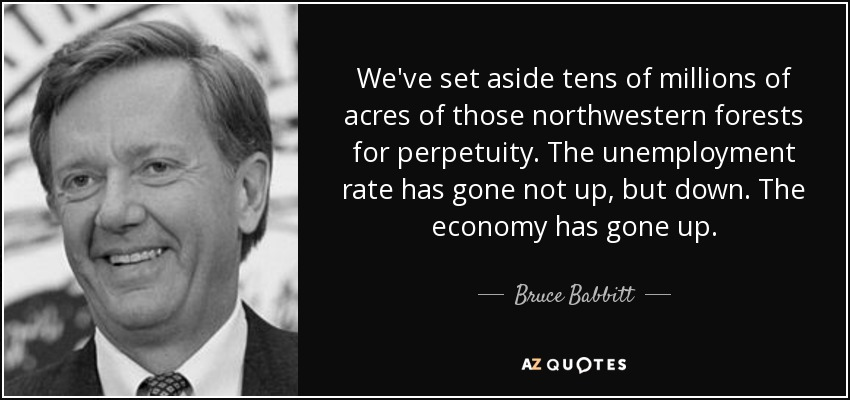 We've set aside tens of millions of acres of those northwestern forests for perpetuity. The unemployment rate has gone not up, but down. The economy has gone up. - Bruce Babbitt