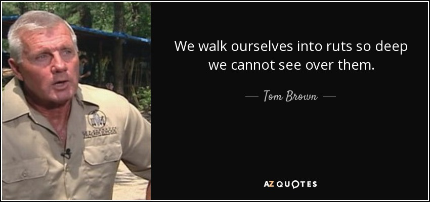 We walk ourselves into ruts so deep we cannot see over them. - Tom Brown, Jr.