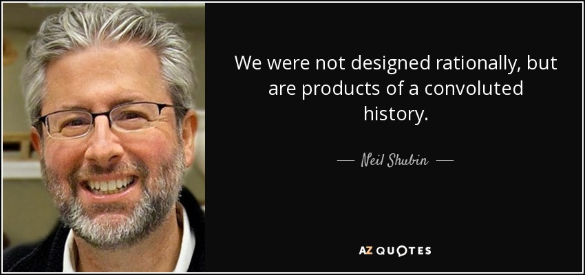 We were not designed rationally, but are products of a convoluted history. - Neil Shubin