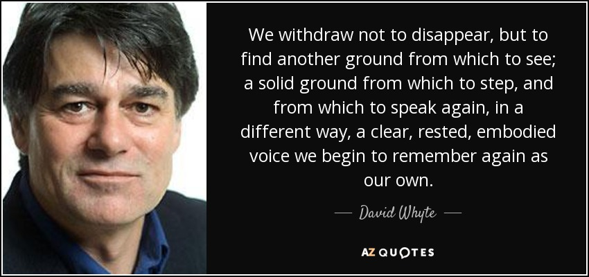 We withdraw not to disappear, but to find another ground from which to see; a solid ground from which to step, and from which to speak again, in a different way, a clear, rested, embodied voice we begin to remember again as our own. - David Whyte