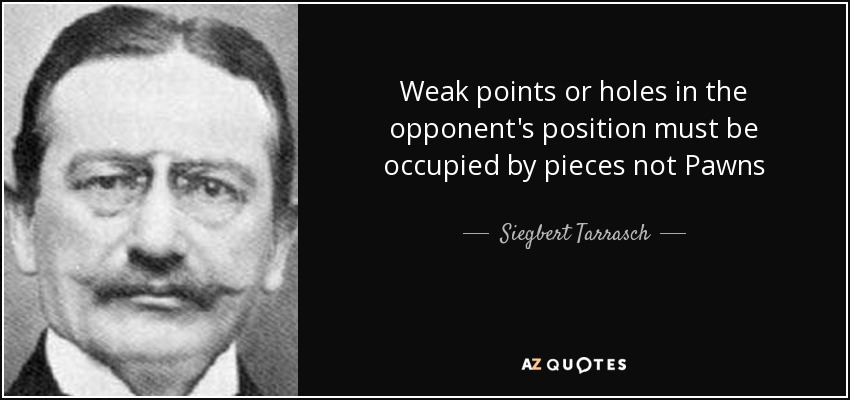 Weak points or holes in the opponent's position must be occupied by pieces not Pawns - Siegbert Tarrasch