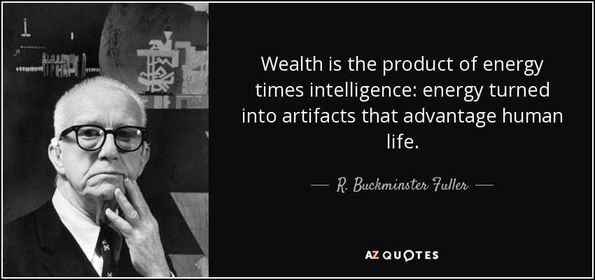 Wealth is the product of energy times intelligence: energy turned into artifacts that advantage human life. - R. Buckminster Fuller