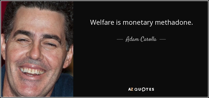 Welfare is monetary methadone. - Adam Carolla