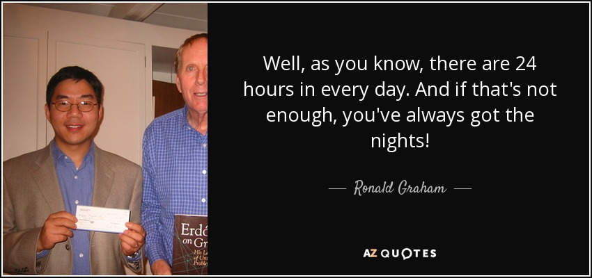 Ronald Graham Quote Well As You Know There Are 24 Hours In Every