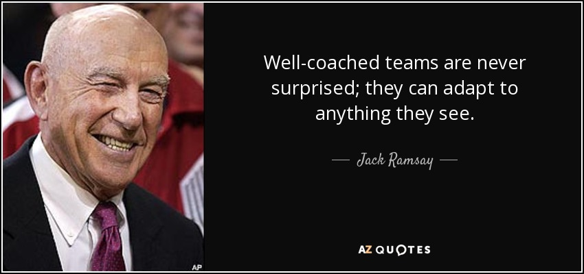 Well-coached teams are never surprised; they can adapt to anything they see. - Jack Ramsay