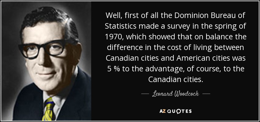 Well, first of all the Dominion Bureau of Statistics made a survey in the spring of 1970, which showed that on balance the difference in the cost of living between Canadian cities and American cities was 5 % to the advantage, of course, to the Canadian cities. - Leonard Woodcock