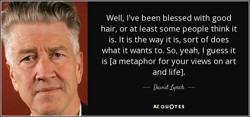 Well, I've been blessed with good hair, or at least some people think it is. It is the way it is, sort of does what it wants to. So, yeah, I guess it is [a metaphor for your views on art and life]. - David Lynch