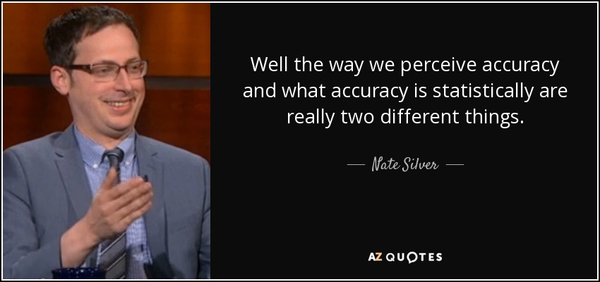 Well the way we perceive accuracy and what accuracy is statistically are really two different things. - Nate Silver