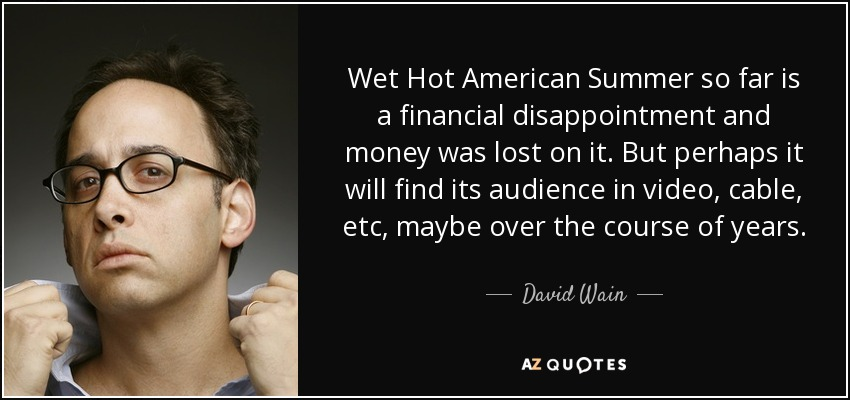 Wet Hot American Summer so far is a financial disappointment and money was lost on it. But perhaps it will find its audience in video, cable, etc, maybe over the course of years. - David Wain