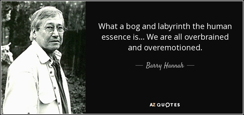 What a bog and labyrinth the human essence is... We are all overbrained and overemotioned. - Barry Hannah