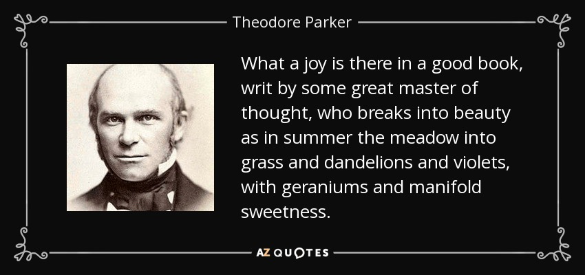 What a joy is there in a good book, writ by some great master of thought, who breaks into beauty as in summer the meadow into grass and dandelions and violets, with geraniums and manifold sweetness. - Theodore Parker