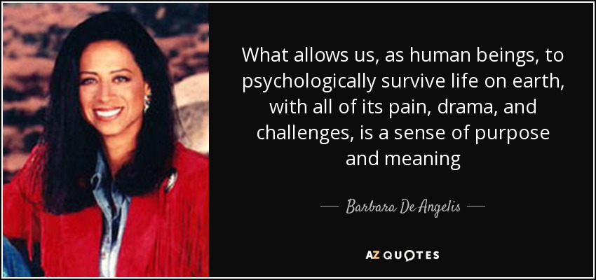 What allows us, as human beings, to psychologically survive life on earth, with all of its pain, drama, and challenges, is a sense of purpose and meaning - Barbara De Angelis