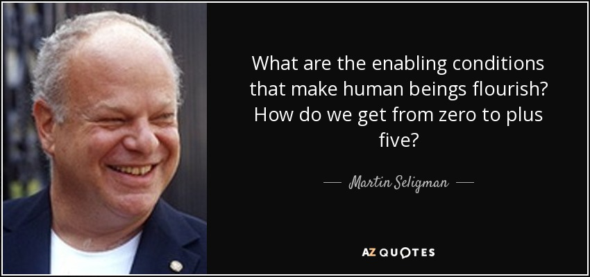 What are the enabling conditions that make human beings flourish? How do we get from zero to plus five? - Martin Seligman