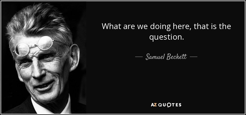 What are we doing here, that is the question. - Samuel Beckett
