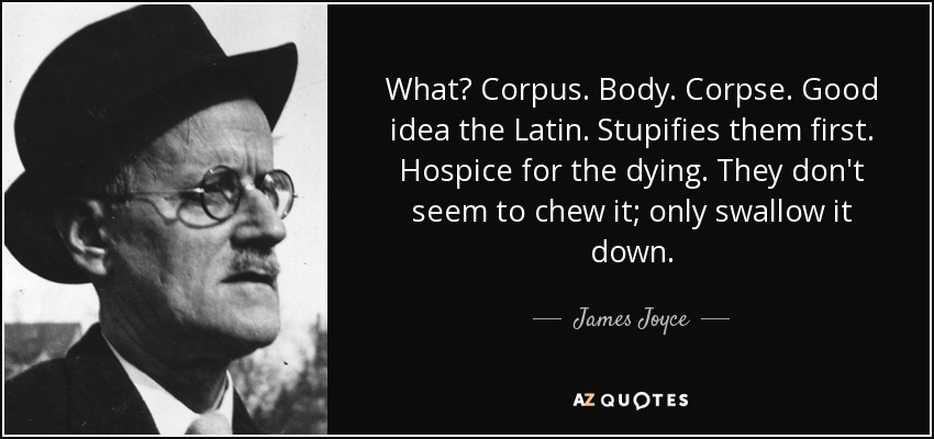 What? Corpus. Body. Corpse. Good idea the Latin. Stupifies them first. Hospice for the dying. They don't seem to chew it; only swallow it down. - James Joyce