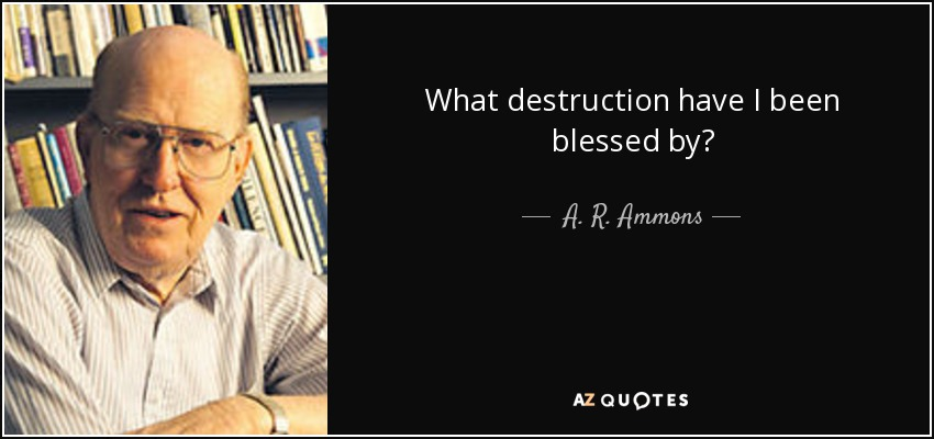 What destruction have I been blessed by? - A. R. Ammons