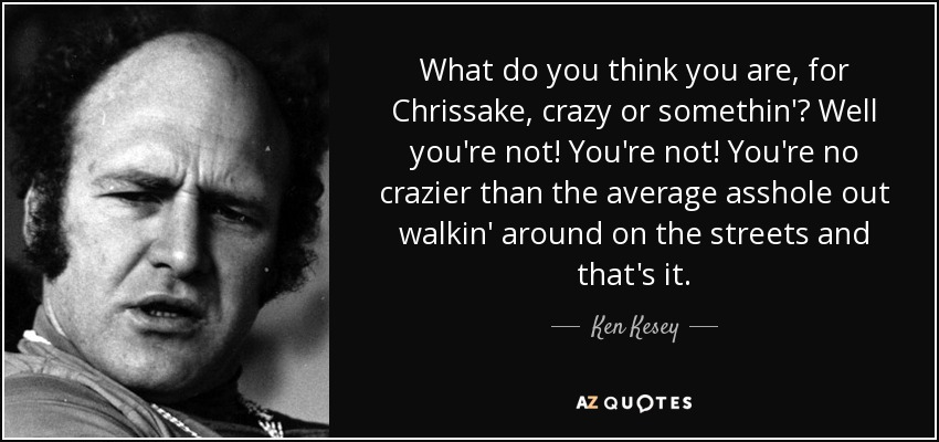 What do you think you are, for Chrissake, crazy or somethin'? Well you're not! You're not! You're no crazier than the average asshole out walkin' around on the streets and that's it. - Ken Kesey