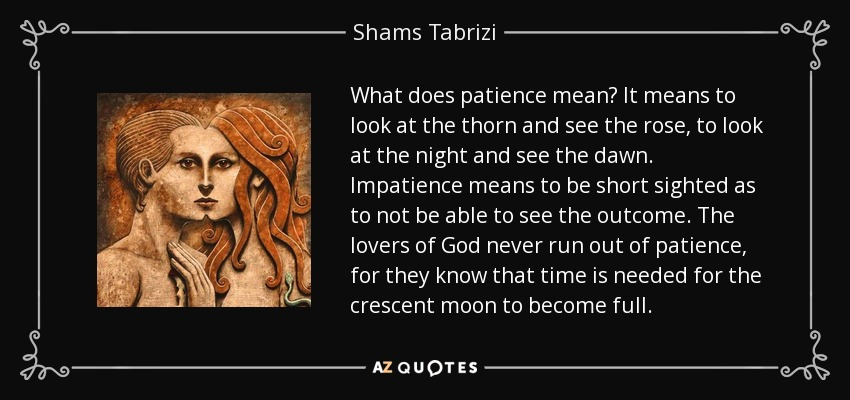 What does patience mean? It means to look at the thorn and see the rose, to look at the night and see the dawn. Impatience means to be short sighted as to not be able to see the outcome. The lovers of God never run out of patience, for they know that time is needed for the crescent moon to become full. - Shams Tabrizi