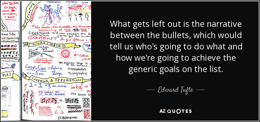 What gets left out is the narrative between the bullets, which would tell us who's going to do what and how we're going to achieve the generic goals on the list. - Edward Tufte