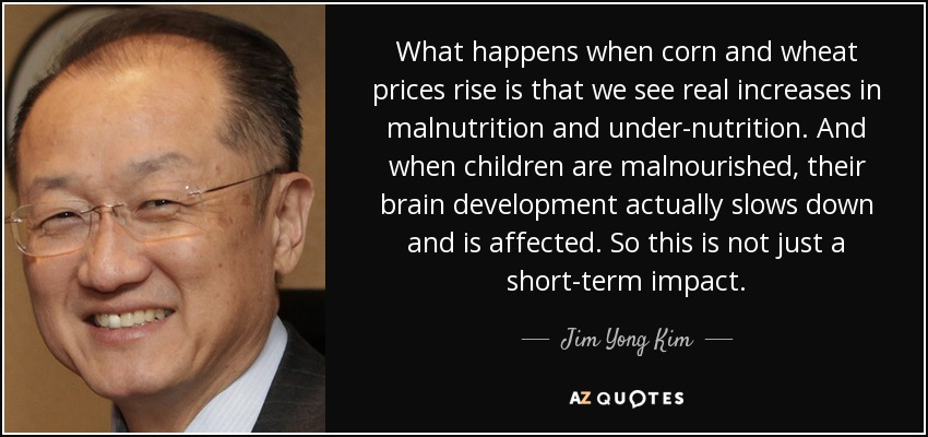 What happens when corn and wheat prices rise is that we see real increases in malnutrition and under-nutrition. And when children are malnourished, their brain development actually slows down and is affected. So this is not just a short-term impact. - Jim Yong Kim