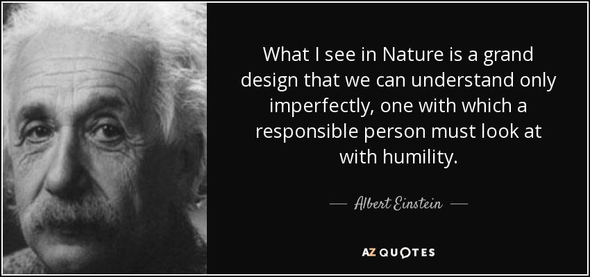 What I see in Nature is a grand design that we can understand only imperfectly, one with which a responsible person must look at with humility. - Albert Einstein
