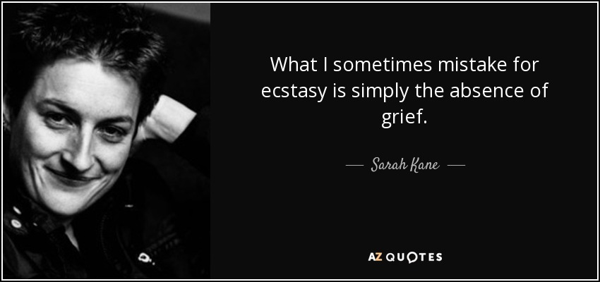 What I sometimes mistake for ecstasy is simply the absence of grief. - Sarah Kane