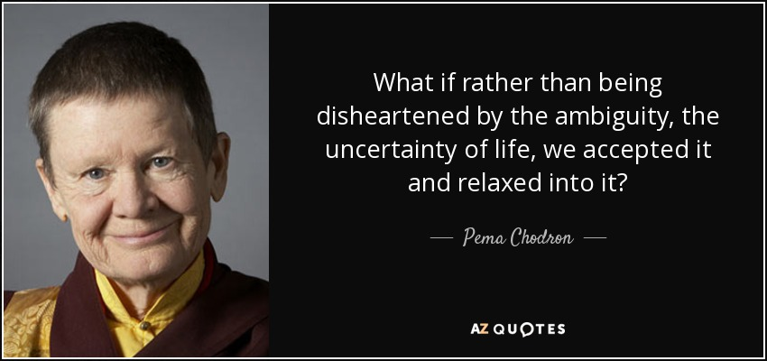 What if rather than being disheartened by the ambiguity, the uncertainty of life, we accepted it and relaxed into it? - Pema Chodron