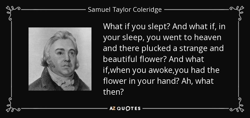 What if you slept? And what if, in your sleep, you went to heaven and there plucked a strange and beautiful flower? And what if,when you awoke,you had the flower in your hand? Ah, what then? - Samuel Taylor Coleridge