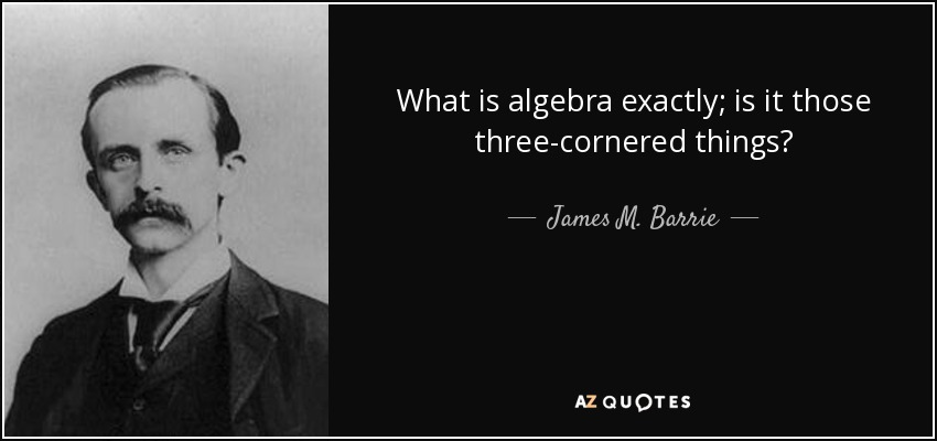 What is algebra exactly; is it those three-cornered things? - James M. Barrie