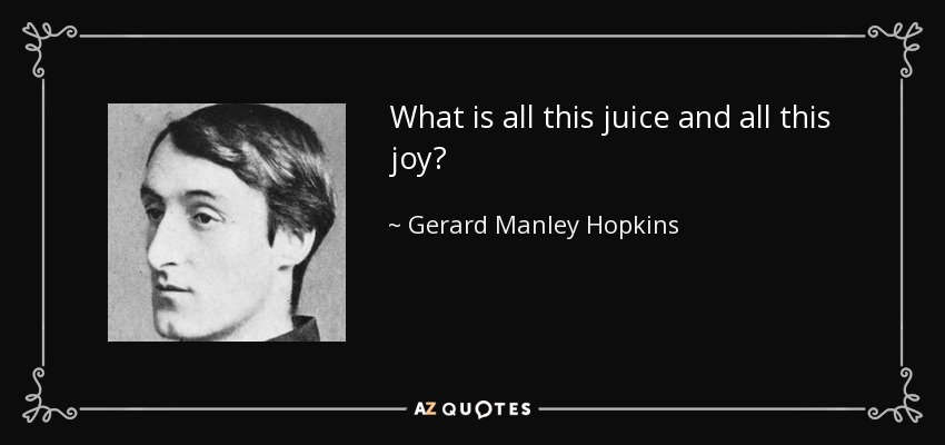 What is all this juice and all this joy? - Gerard Manley Hopkins