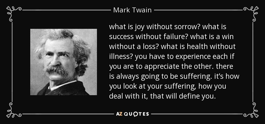 what is joy without sorrow? what is success without failure? what is a win without a loss? what is health without illness? you have to experience each if you are to appreciate the other. there is always going to be suffering. it's how you look at your suffering, how you deal with it, that will define you. - Mark Twain