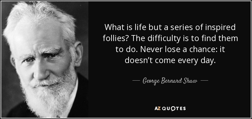 What is life but a series of inspired follies? The difficulty is to find them to do. Never lose a chance: it doesn't come every day. - George Bernard Shaw