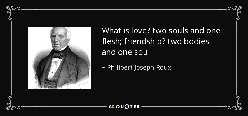 What is love? two souls and one flesh; friendship? two bodies and one soul. - Philibert Joseph Roux