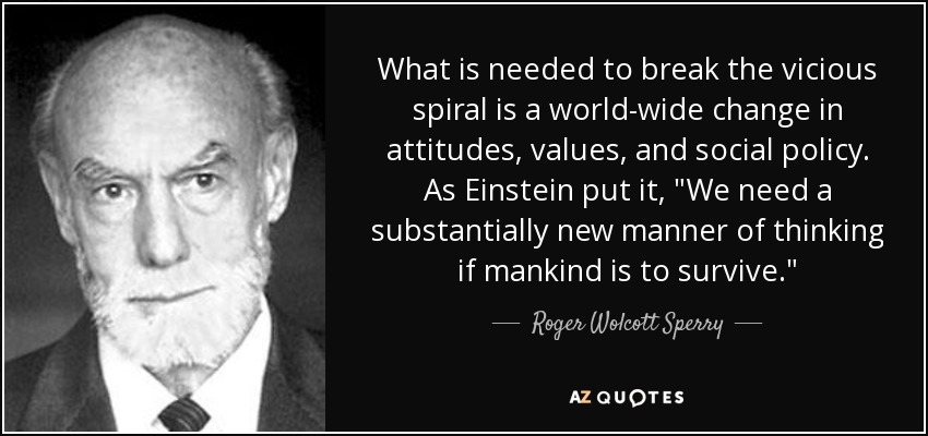 What is needed to break the vicious spiral is a world-wide change in attitudes, values, and social policy. As Einstein put it,