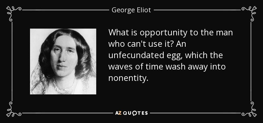 What is opportunity to the man who can't use it? An unfecundated egg, which the waves of time wash away into nonentity. - George Eliot