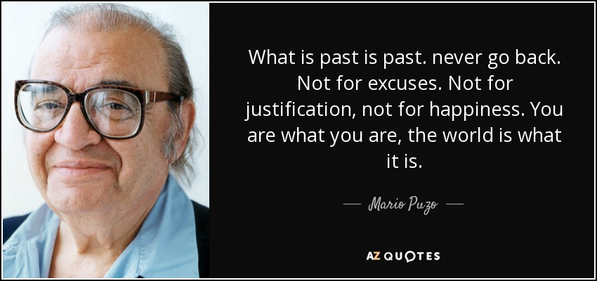 What is past is past. never go back. Not for excuses. Not for justification, not for happiness. You are what you are, the world is what it is. - Mario Puzo