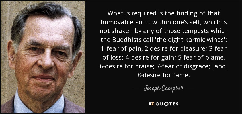 What is required is the finding of that Immovable Point within one's self, which is not shaken by any of those tempests which the Buddhists call 'the eight karmic winds': 1-fear of pain, 2-desire for pleasure; 3-fear of loss; 4-desire for gain; 5-fear of blame, 6-desire for praise; 7-fear of disgrace; [and] 8-desire for fame. - Joseph Campbell