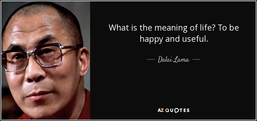 What is the meaning of life? To be happy and useful. - Dalai Lama
