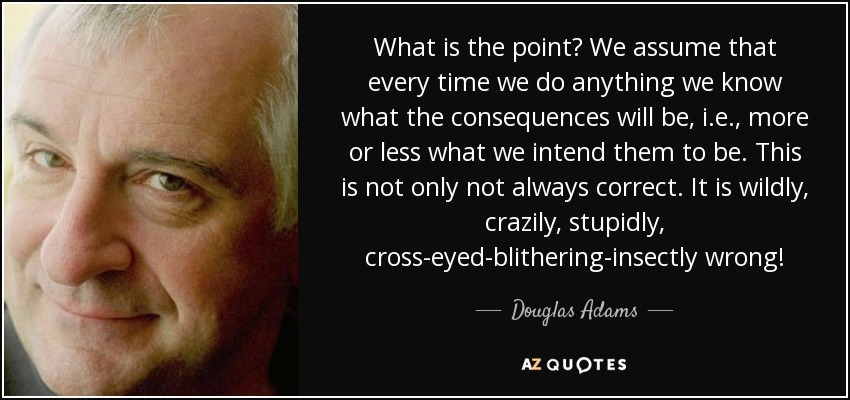What is the point? We assume that every time we do anything we know what the consequences will be, i.e., more or less what we intend them to be. This is not only not always correct. It is wildly, crazily, stupidly, cross-eyed-blithering-insectly wrong! - Douglas Adams