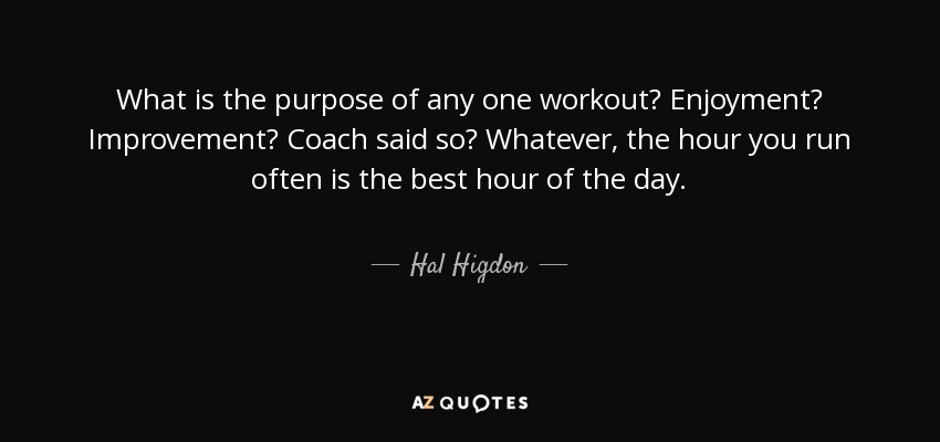 What is the purpose of any one workout? Enjoyment? Improvement? Coach said so? Whatever, the hour you run often is the best hour of the day. - Hal Higdon
