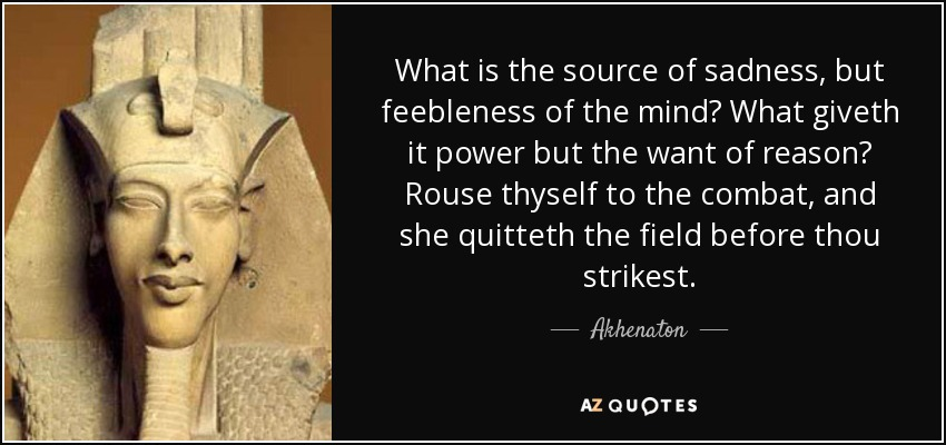 What is the source of sadness, but feebleness of the mind? What giveth it power but the want of reason? Rouse thyself to the combat, and she quitteth the field before thou strikest. - Akhenaton