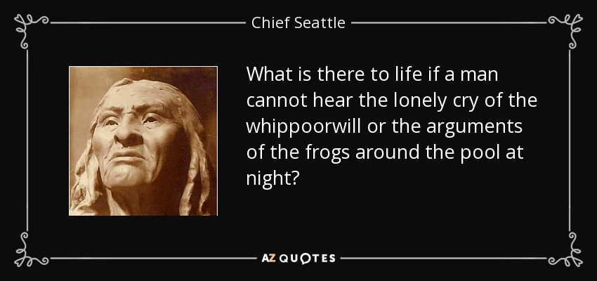What is there to life if a man cannot hear the lonely cry of the whippoorwill or the arguments of the frogs around the pool at night? - Chief Seattle