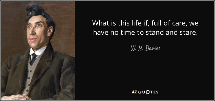 What is this life if, full of care, we have no time to stand and stare. - W. H. Davies