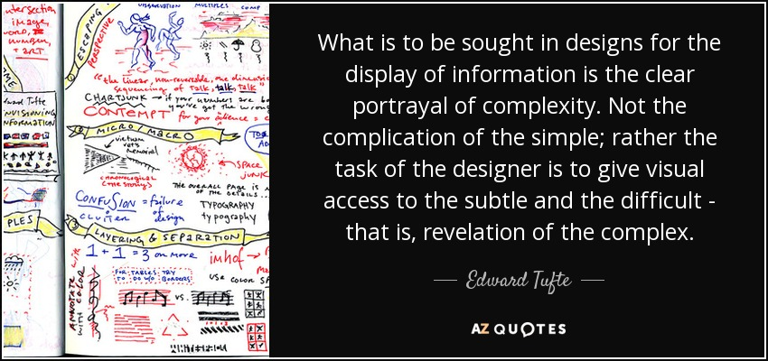What is to be sought in designs for the display of information is the clear portrayal of complexity. Not the complication of the simple; rather the task of the designer is to give visual access to the subtle and the difficult - that is, revelation of the complex. - Edward Tufte