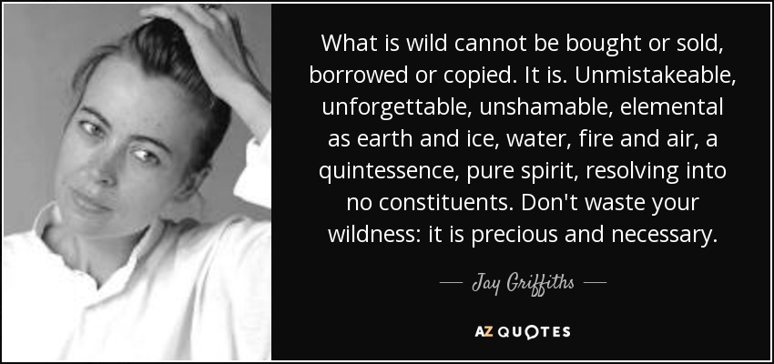 What is wild cannot be bought or sold, borrowed or copied. It is. Unmistakeable, unforgettable, unshamable, elemental as earth and ice, water, fire and air, a quintessence, pure spirit, resolving into no constituents. Don't waste your wildness: it is precious and necessary. - Jay Griffiths
