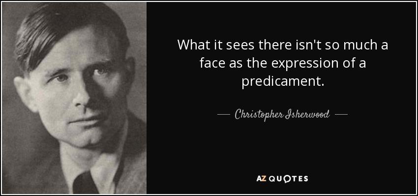 What it sees there isn't so much a face as the expression of a predicament. - Christopher Isherwood