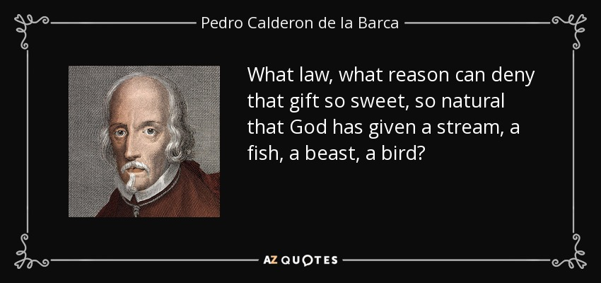 What law, what reason can deny that gift so sweet, so natural that God has given a stream, a fish, a beast, a bird? - Pedro Calderon de la Barca